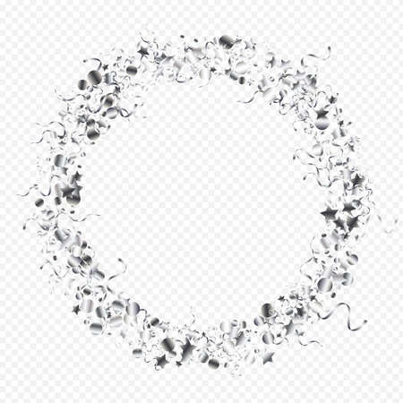 Silver Spiral Shiny Vector Transparent Background. Festive Star Template. Serpentine Flying Poster. Silver Happy Design.