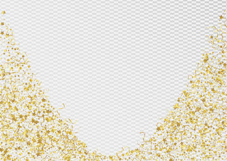 Yellow Streamer Christmas Vector Transparent Background. Shiny Spiral Branch. Confetti Abstract Design. Gold Fun Illustration.