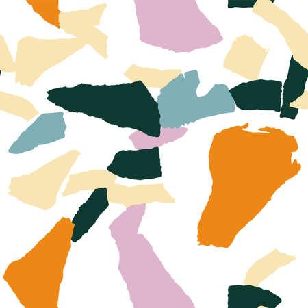 Bright Terrazzo Wall Vector Seamless Pattern. Quartz Terrazzo Tile Banner. Peach and Orange Italian Wallpaper.