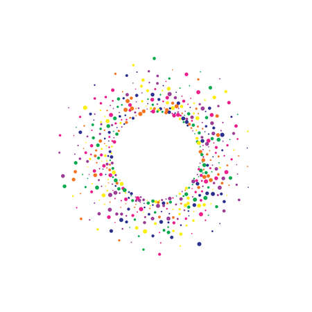 Rainbow Dust FallingFestive White Background. Celebrate Circle Pattern. Top Round Postcard. Yellow Dot Abstract Card.