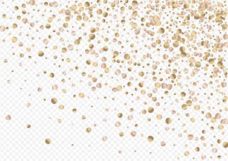 Gold Shine Golden Transparent Background. Shiny Confetti Backdrop. Golden Sequin Paper Wallpaper. Polka Effect Card.