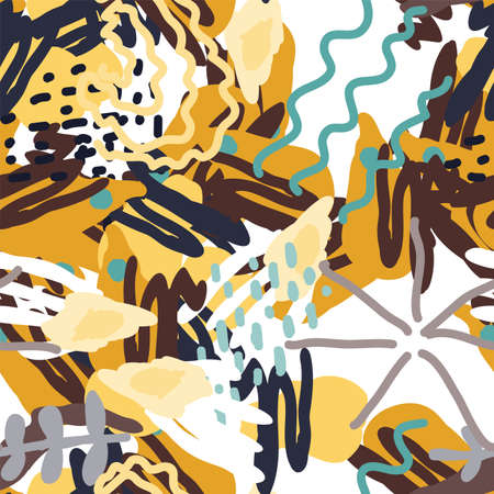 Dark and Beige Artwork Floral Vector Seamless Pattern. Abstract Doodle Texture. White And Brown Shapes Illustration. Happy Patchwork Design. Ilustracja