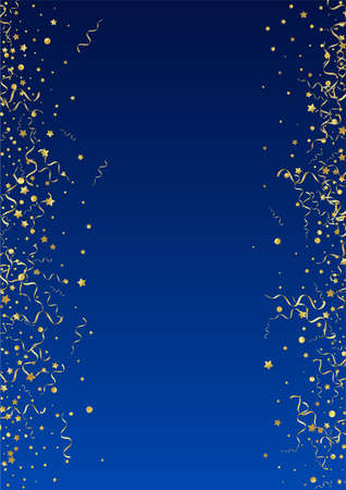 Yellow Serpentine Falling Vector Blue Background. Isolated Spiral Illustration. Confetti Swirl Branch. Gold Carnival Design.