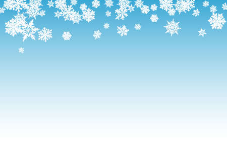 Silver Snow Panoramic Vector Blue Background. Light Snowflake Backdrop. White magic Banner. Sky Snowfall Illustration.