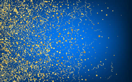 Golden Streamer Abstract Vector Blue Background. Happy Spiral Template. Serpentine Festive Illustration. Gold Celebration Plant.