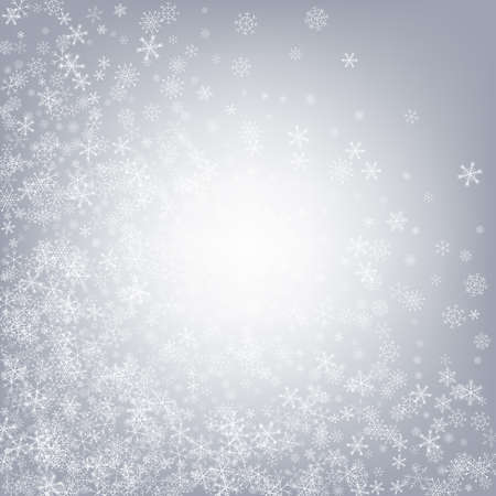 White Snowflake Vector Gray Background. Fantasy Snowfall Pattern. Silver Holiday Illustration. Christmas Snow Banner.