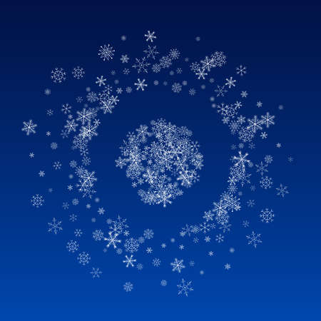 Silver Snowfall Vector Blue Background. Winter Snow Texture. White Christmas Backdrop. Abstract Snowflake Card.