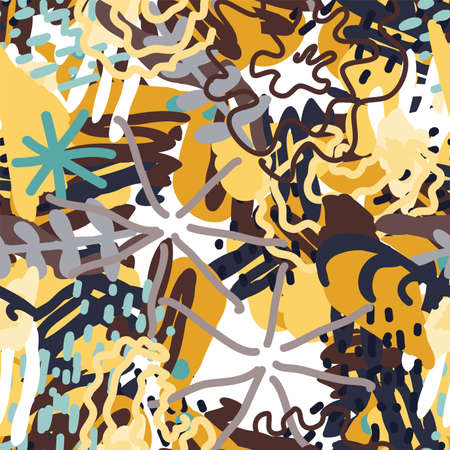 Motley Brush Floral Vector Seamless Pattern. Hipster Flower Print. White And Brown Fun Texture. Shapes Element Design.