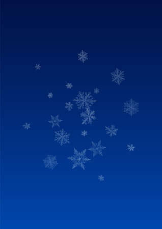 Silver Snowfall Vector Blue Background. Light Snow Card. White Falling Illustration. Holiday Snowflake Backdrop. Ilustracja