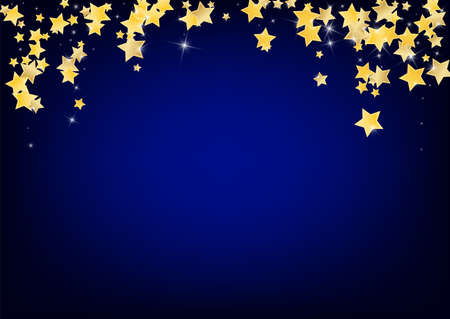 Gold Luxury Stars Vector Blue Background. Effect Star Illustration. Space Design. Golden Xmas Shine Pattern.