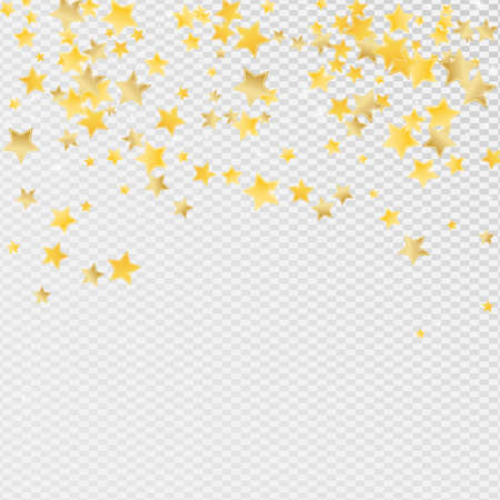 Gold Celebration Stars Vector Transparent Background. Effect Starry Banner. Glitter Illustration. Yellow Galaxy Confetti Template.