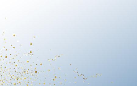 Yellow Spiral Anniversary Vector Gray Background. Celebrate Streamer Branch. Ribbon Shiny Poster. Golden Festive Plant.