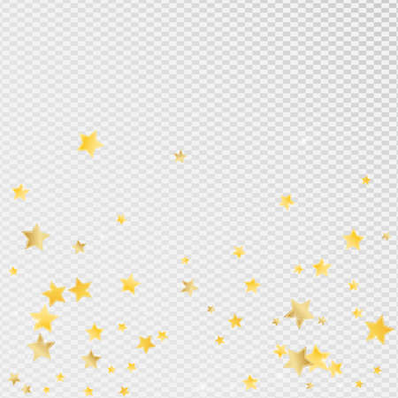 Yellow Graphic Stars Vector Transparent Background. Galaxy Starry Texture. Universe Template. Golden Abstract Confetti Design.