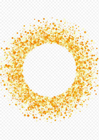 Yellow Dust Bright Transparent Background. Anniversary Round Design. Golden Confetti Christmas Backdrop. Polka Luxury Texture.