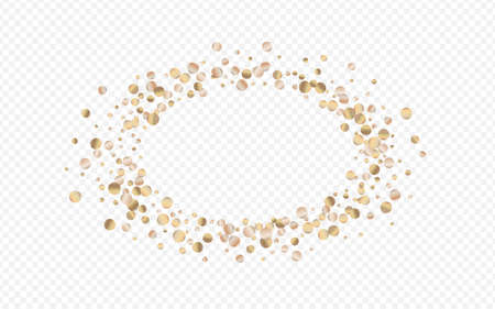 Bronze Confetti Vector Transparent Background. Shiny Dot Postcard. Yellow Round Art Design. Glow Happy Wallpaper.