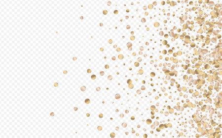 Bronze Splash Shiny Transparent Background. Glamor Polka Banner. Golden Circle Bridal Backdrop. Glow Happy Background. Ilustracja