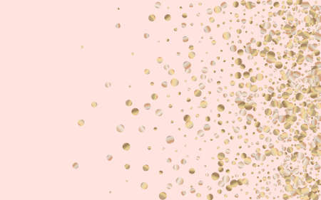 Golden Glow Christmas Pink Background. Abstract Sequin Banner. Yellow Shine Shiny Pattern. Confetti Luxury Invitation.