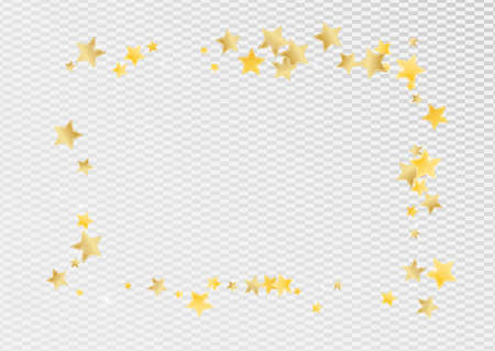 Golden Graphic Stars Vector Transparent Background. Twinkle Star Design. Shine Wallpaper. Gold Abstract Glow Pattern.