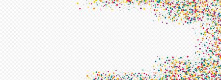 Orange Polka Christmas Panoramic Transparent Background. Happy Splash Texture. Carnaval Confetti Postcard. Yellow Round Abstract Invitation.