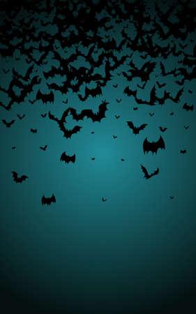 Black Monster Decor Vector Blue Background. Flock Cute Wallpaper. Party Dracula Design. Shadow Flyer. Illustration