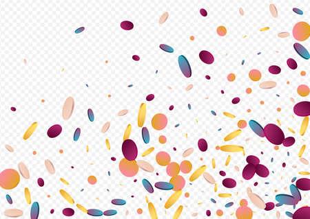 Colorful Polka Flying Panoramic Gray Background. Gradient Festival Rain Illustration. Carnaval Pattern. Unicorn Vector Wallpaper. Illustration