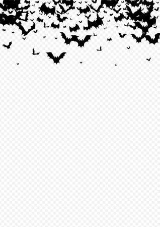 Dark Flock Spooky Vector Transparent Background. Dracula Flying Backdrop. Shadow Monster Banner. Abstract Pattern. Illustration