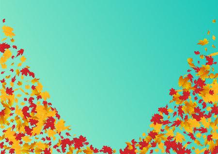 Golden Foliage Vector Blue Background. October Plant Illustration. Colorful Decoration Leaf Design. Collection Frame. Illustration