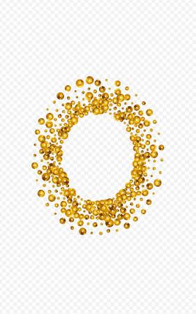 Yellow Shine Falling Vector Transparent Background. Holiday Round Banner. Golden Splash Shiny Invitation. Sequin Anniversary Postcard.