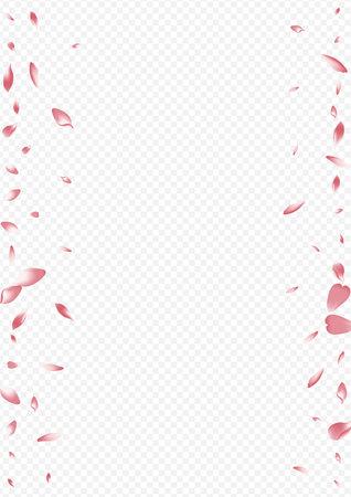 White Flower Vector Transparent Background. Rosa Nature Pattern. Lotus Sky Texture. Heart Falling Template. Purple Tree Romance Cover. Illustration