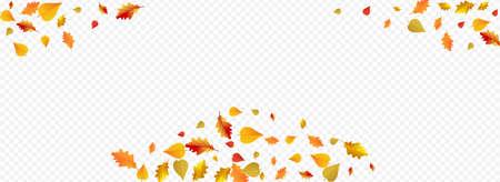 Brown Floral Vector Panoramic Transparent Background. Celebrate Leaves Illustration. Ocher November Plant Design. Flying Card.