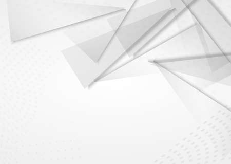 Light Triangle Business Vector Gray Background. Creative Pattern. White Minimalist Shapes Cover. Graphic Brochure.