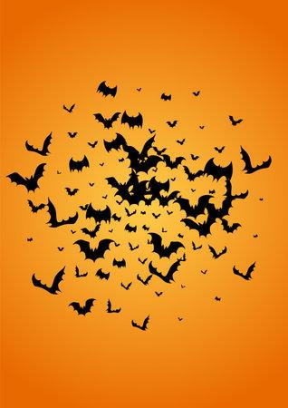 Black Flock Halloween Vector Orange Background. Bats Spooky Design. Shadow Silhouette Template. Holiday Flyer.