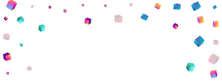 Iridescent Rhombus Vector Panoramic White Background. Bright Style Cube Wallpaper. Abstract Brick Template. Holographic Confetti Perspective Paper. Illustration