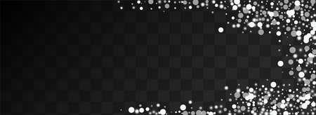 Gray Snowflake Vector Panoramic Transparent Background. Silver Xmas Snowfall Invitation. Elegant Snowstorm Texture. Glow Confetti Banner.