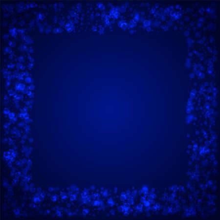 Shiny Flake Vector Blue Background. Silver Minimal Stars Backdrop. Festive Snowstorm Postcard. Falling Snowflake Pattern. Banque d'images