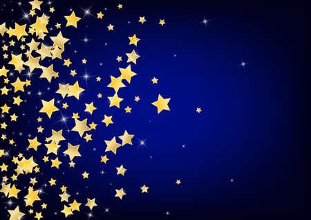 Golden Celebration Stars Vector Blue Background. Party Rain Illustration. Glitter Banner. Gold Decoration Confetti Wallpaper. Banque d'images