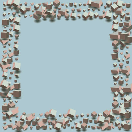 Pastel Cube Vector Blue Background. Perspective Block Pattern. Soft Pink Box Shiny Wallpaper. Graphic Confetti Image.