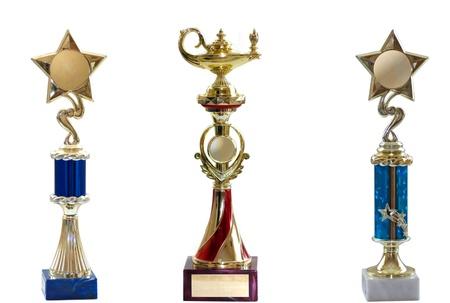 three awards isolated on white bacground
