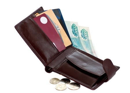 open wallet with Russian rubles and credit cards