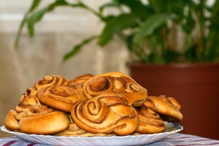 Cinnamon buns on the plate  Stock Photo
