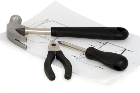 tools with furniture assembling instruction sheet  Stock Photo