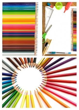 colorful pencils and office supplies collage  Stock Photo