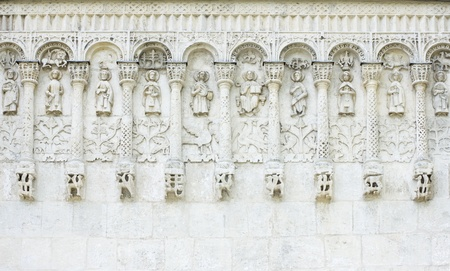 white stone carvings, ancient church, Russia
