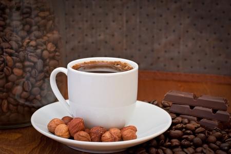 cup of coffee, hazelnut and chocolate