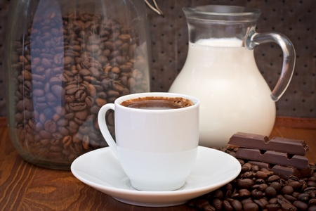 cup of coffee, milk and chocolate