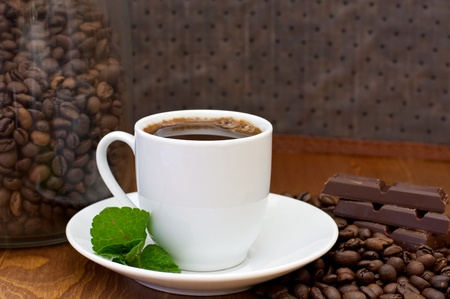 cup of coffee, mint and chocolate