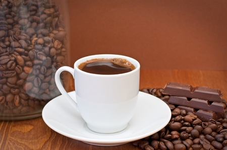 cup of coffee and chocolate  photo