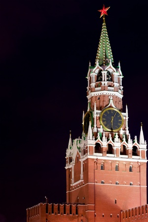 Spasskaya Tower of Kremlin at night  Stock Photo - 13067724