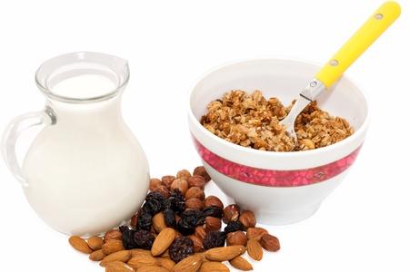 muesli milk nuts and raisins