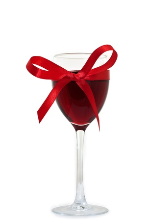 wineglass with wine and ribbon  Stock Photo